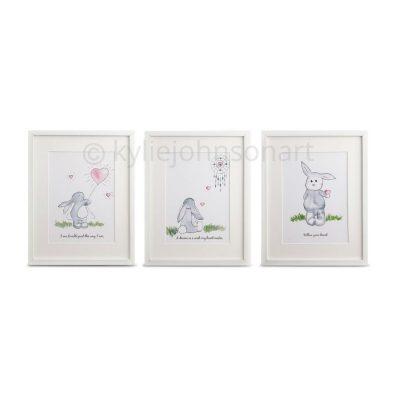 Set Of 3 Bunny Art Prints